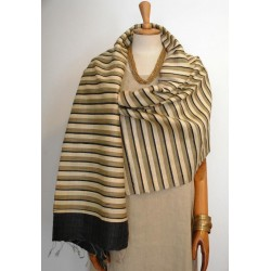 Black & Gold striped 100% raw Silk Scarf - Shawl - Pashmina