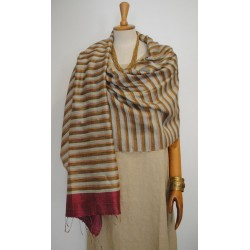 Bordeaux striped 100% raw Silk Scarf - Shawl - Pashmina