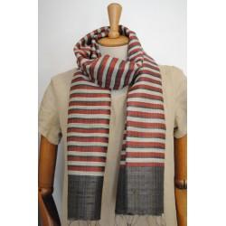 Deep Red & Black striped 100% raw Silk Scarf - Shawl - Pashmina