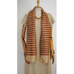 Gold & Red striped 100% raw Silk Scarf - Shawl - Pashmina
