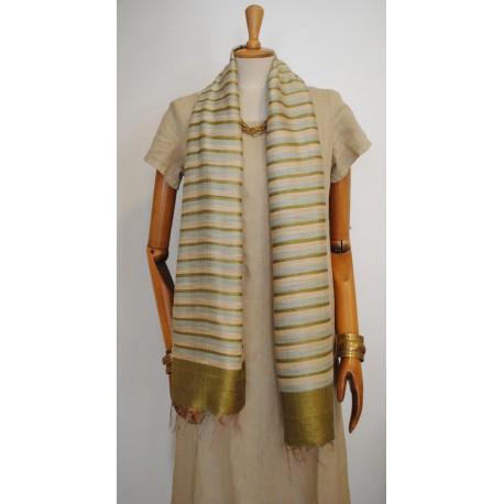 Green striped 100% raw Silk Scarf - Shawl - Pashmina