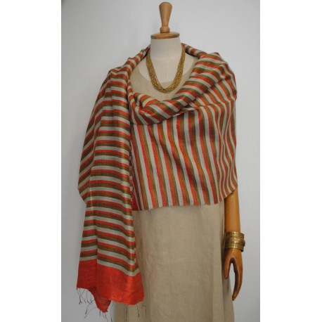 Orange Gold striped 100% raw Silk Scarf - Shawl - Pashmina