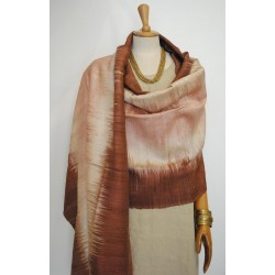 Brown & Beige 100% raw Silk Scarf - Shawl - Pashmina