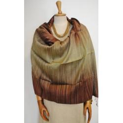 Brown & Green 100% raw Silk Scarf - Shawl - Pashmina