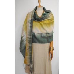 Yellow & Green 100% raw Silk Scarf - Shawl - Pashmina