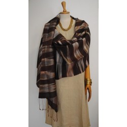 Silver & Brown 100% raw Silk Scarf - Shawl - Pashmina