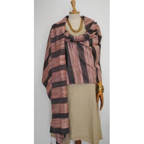 Purple striped 100% raw Silk Scarf - Shawl - Pashmina