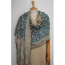 Double face Shawl Pashmina - Light blue & Gold wool & Silk
