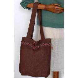 Beige Burlap Handbag