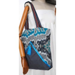 38€ Blue Cotton Boho Handbag - Women's Handmade bags