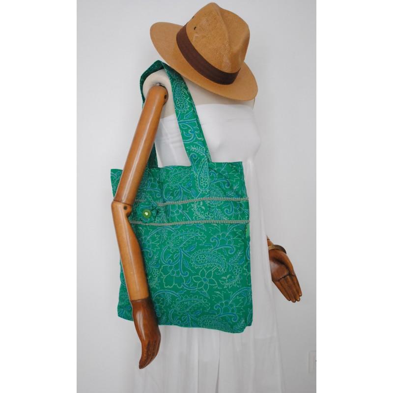 1c02e777ab Πράσινη Υφασμάτινη γυναικεία τσάντα - Χειροποίητες τσάντες. Loading zoom