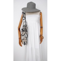 White grey cotton Handmade Handbag