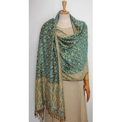 Double face Shawl Pashmina - Green & Gold Viscose