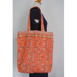 Orange Cotton Handbag - big size , ideal for Beach bag