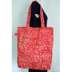 Red big beach handmade cotton handbags