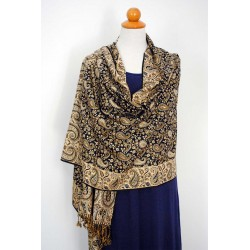 Double face Shawl Pashmina - Gold, Black & Silver Viscose