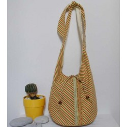 A & M handbag Yellow - Green Striped